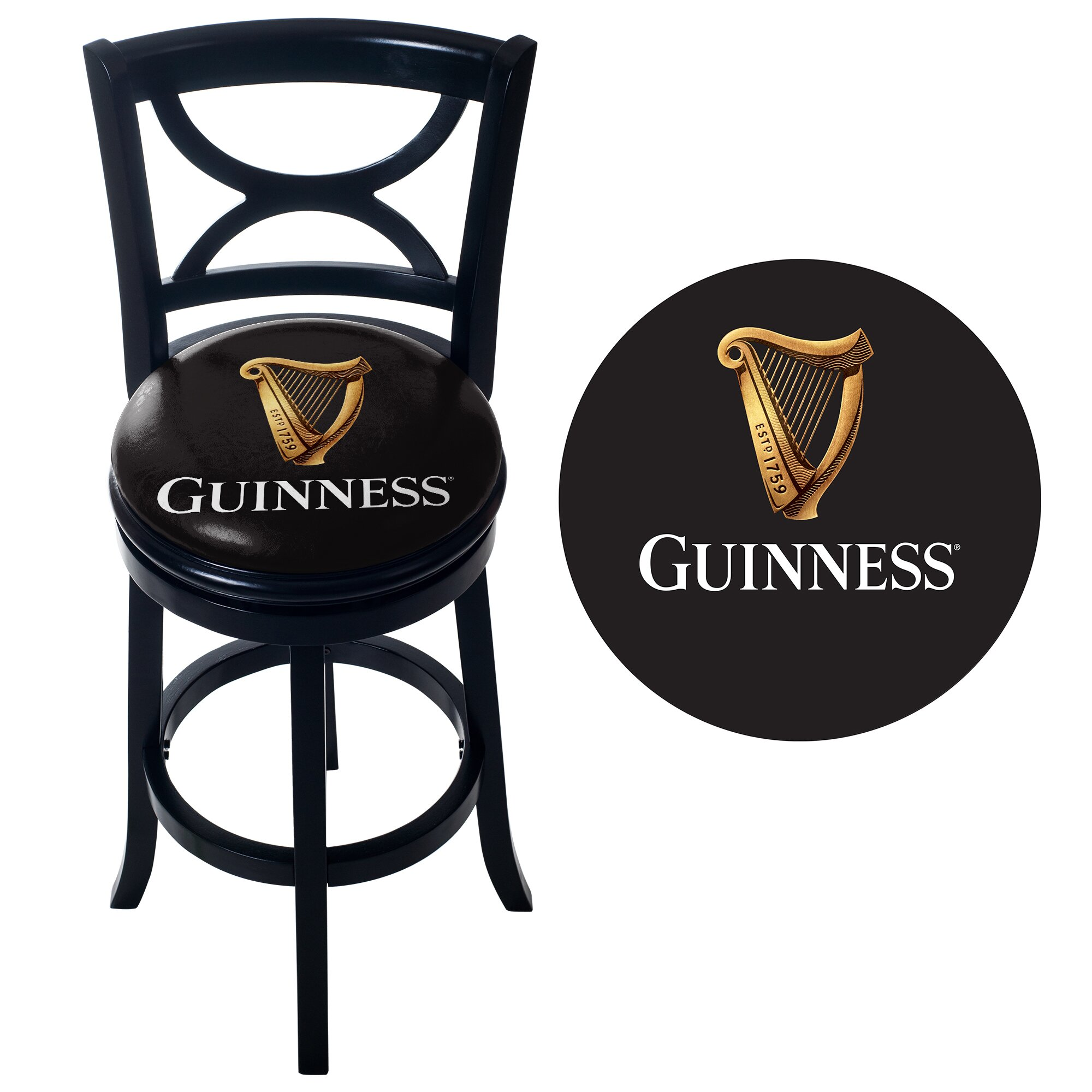 Trademark Global Guinness Wood Swivel Bar Stool With Back