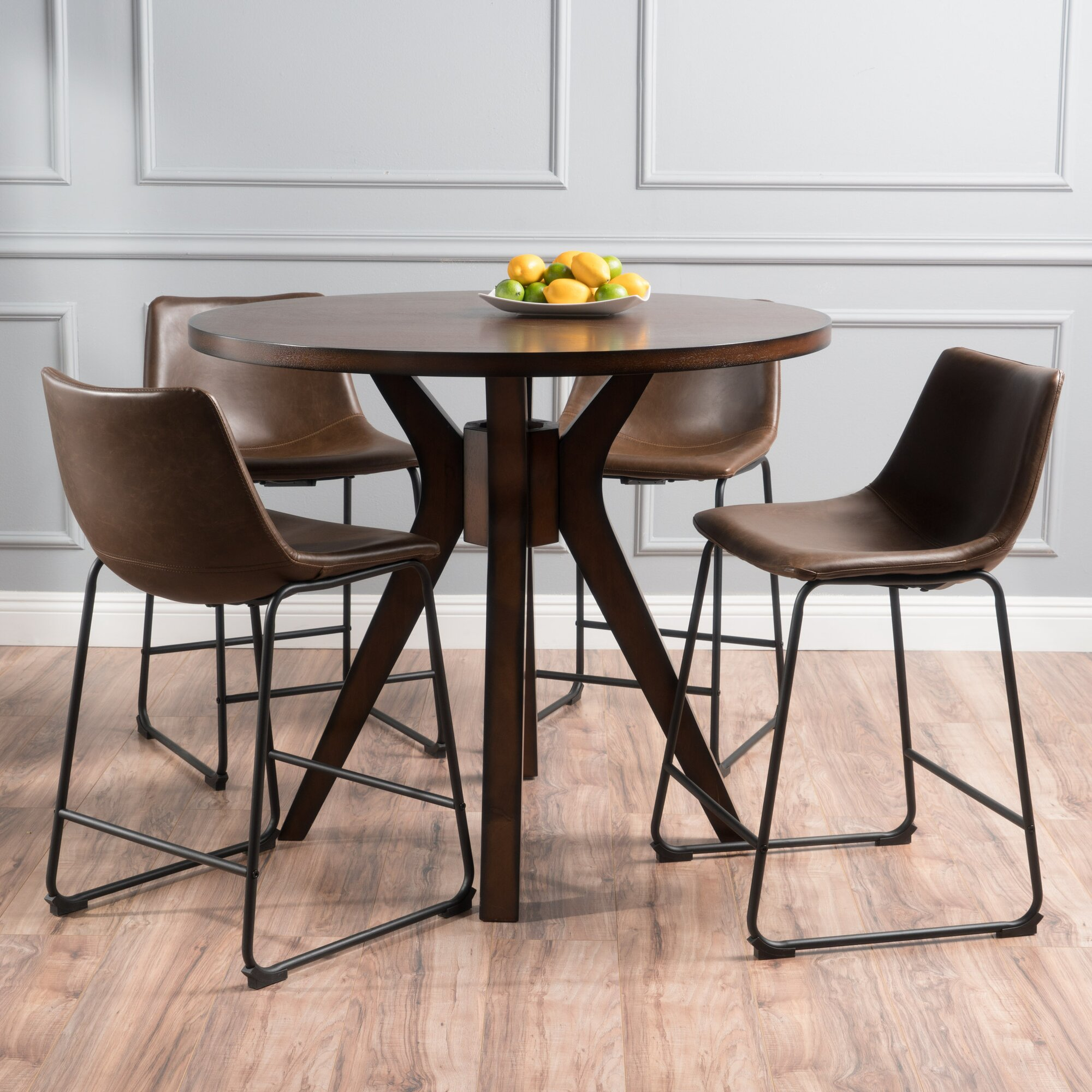 Dining Set Round: Maclin Faux Wood Round 5 Piece Dining Set