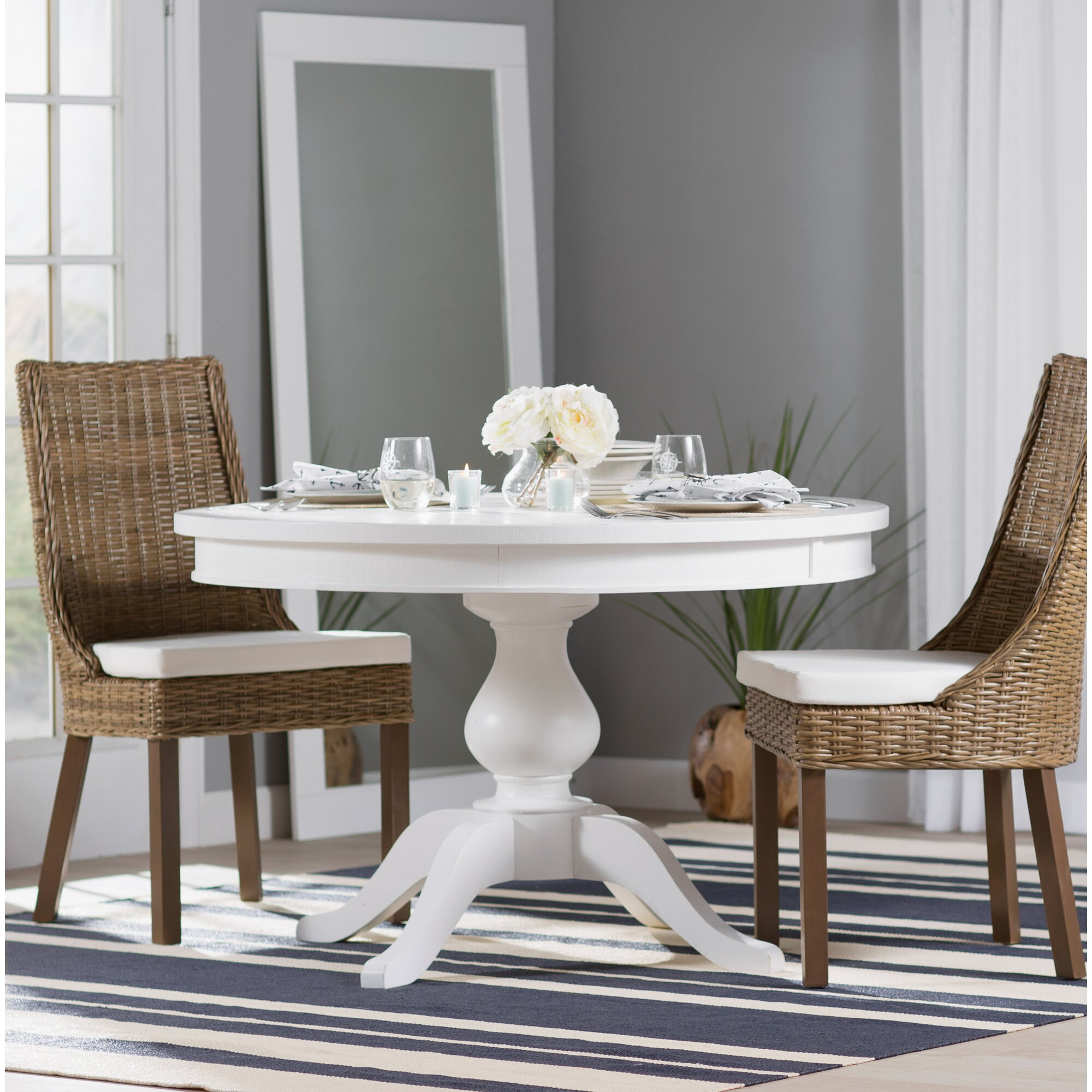 flanders round to oval extendable dining table birch lane. Black Bedroom Furniture Sets. Home Design Ideas