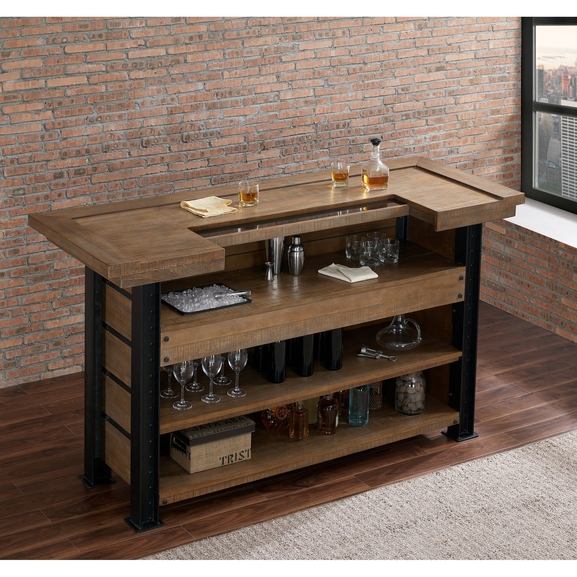 Wood Home Bar: Loon Peak Spring Grove Reclaimed Wood Home Bar With Wine