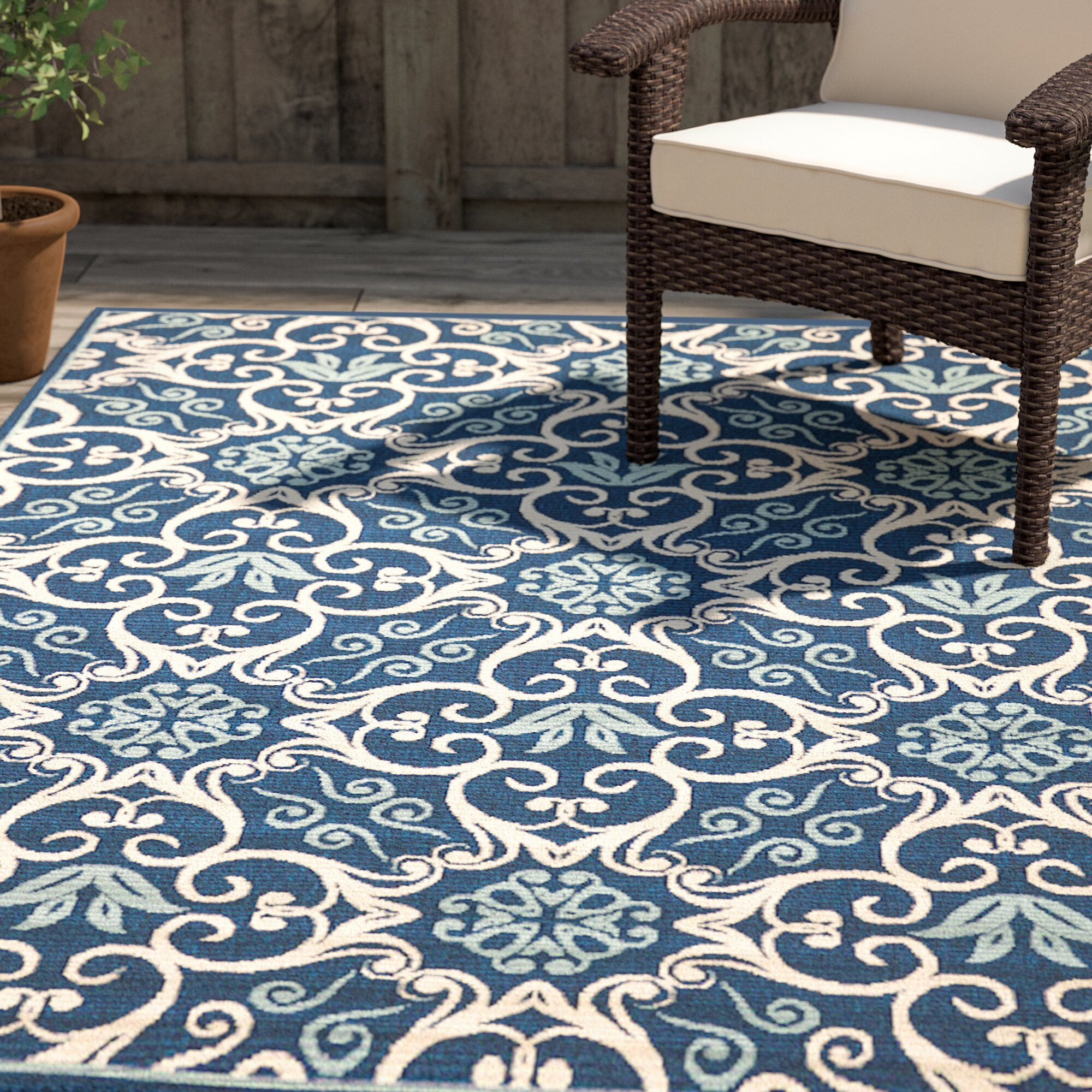 Carleton Navy Indoor Outdoor Area Rug Amp Reviews Birch Lane