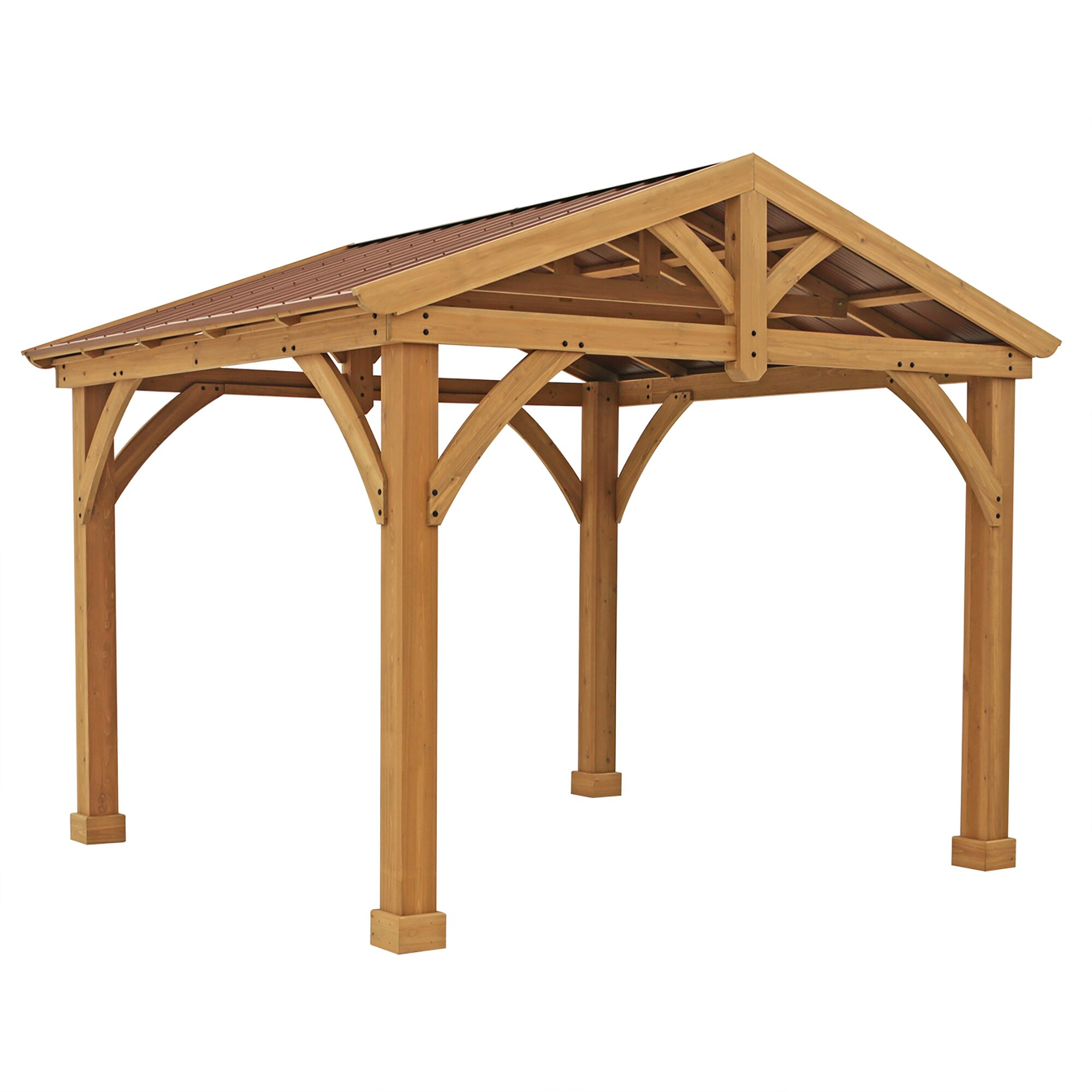 Yardistry Avery Pavilion 10 Ft. W x 12 Ft. D Wood ...