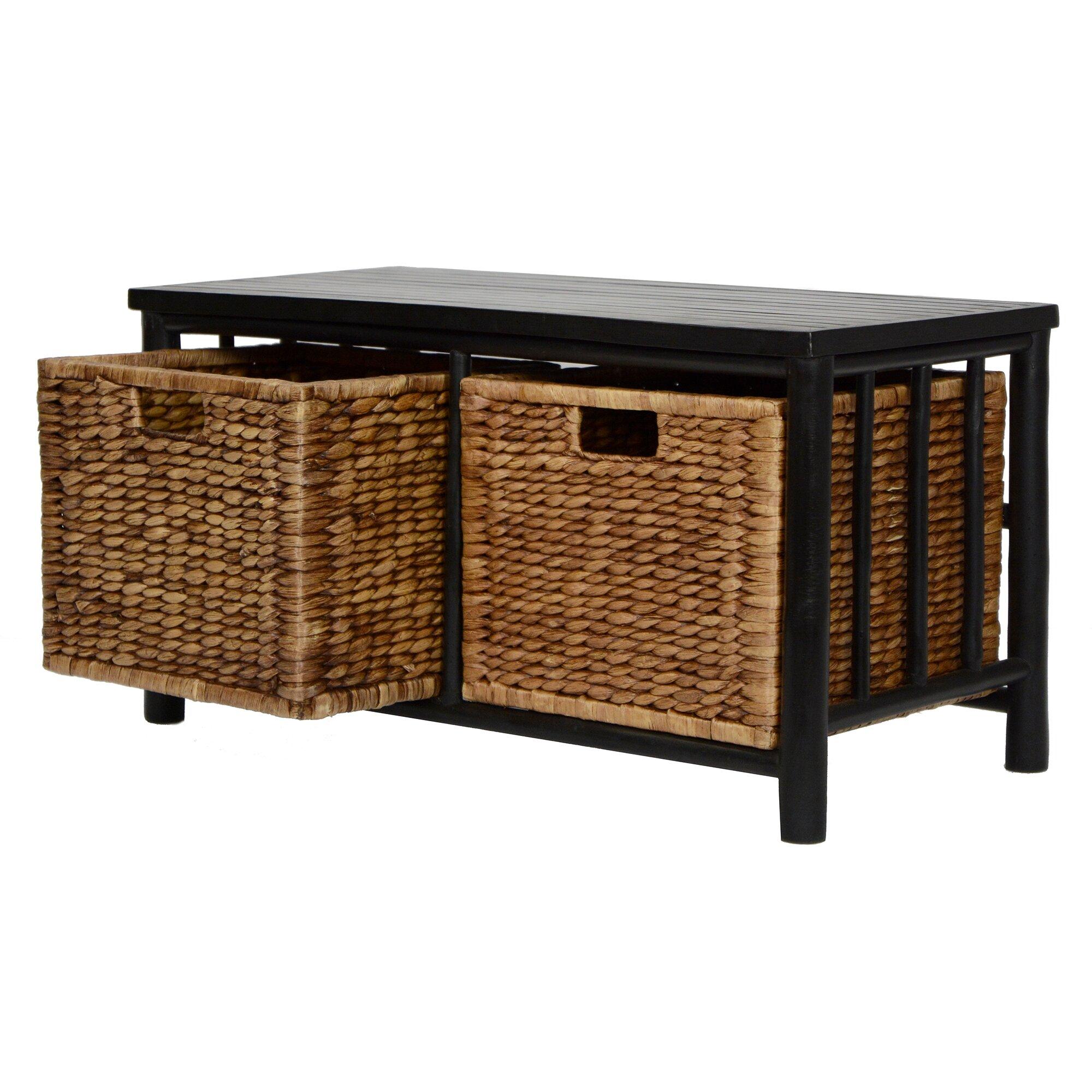 Heather Ann Bamboo Storage Entryway Bench Amp Reviews Wayfair