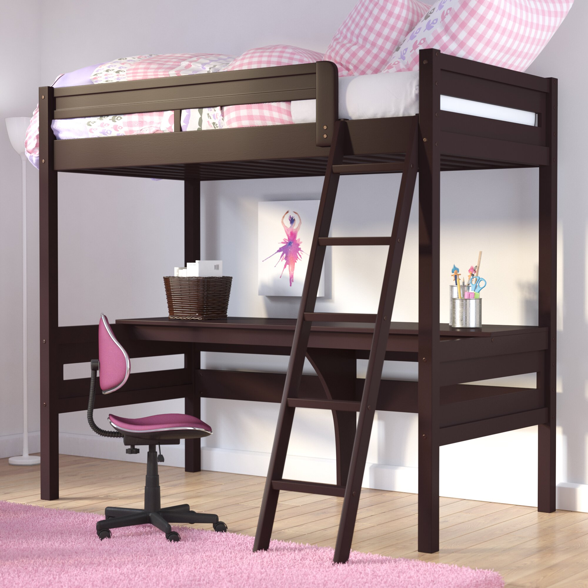 alfred twin loft bed with desk reviews joss main. Black Bedroom Furniture Sets. Home Design Ideas