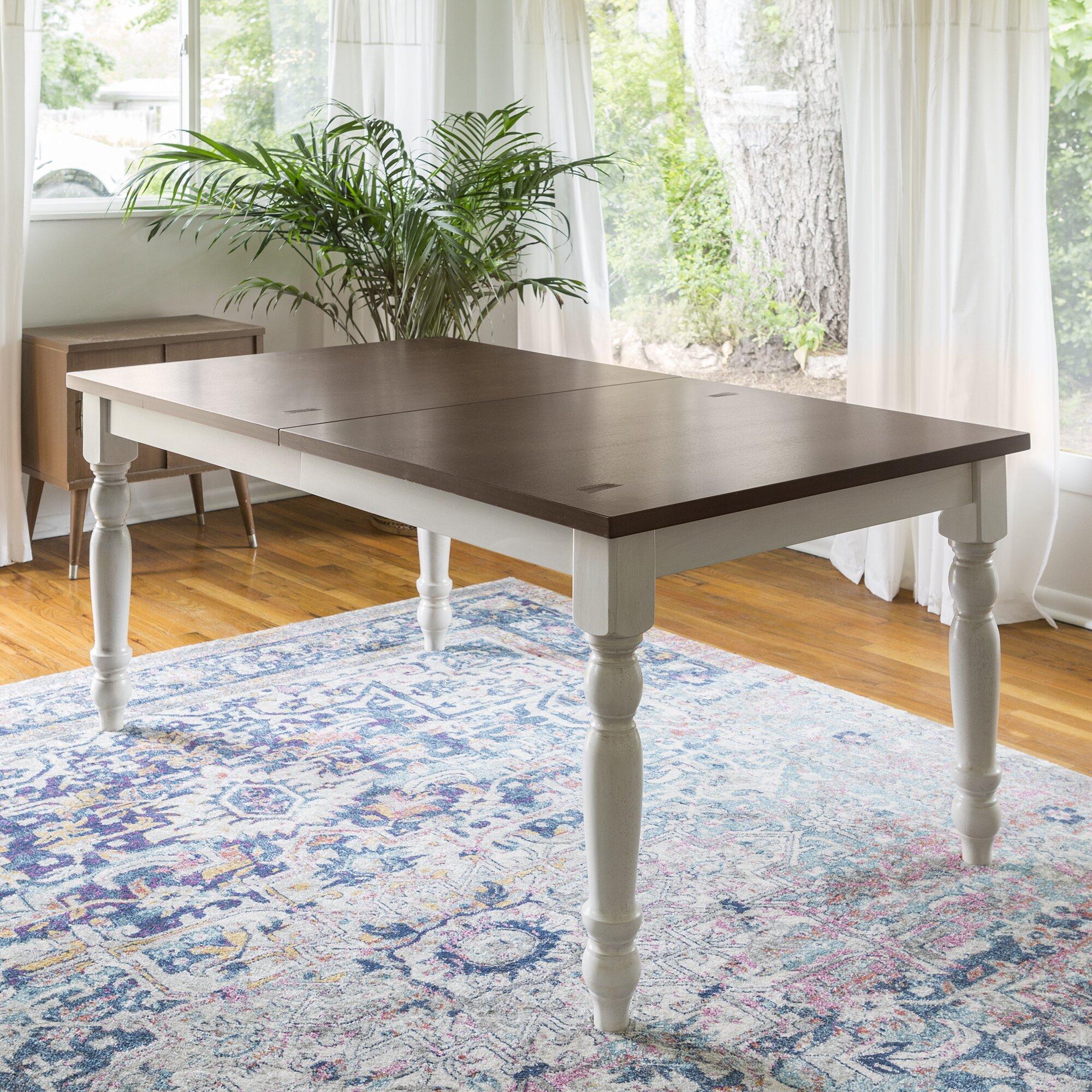 Bay Isle Home Hodslavice Solid Wood Turned Leg Extendable Dining Table  Wayfair
