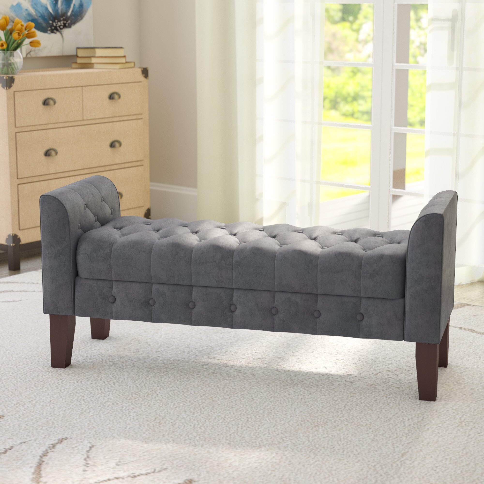 Adecotrading Storage Bedroom Bench Reviews: Three Posts Aimee Upholstered Storage Bedroom Bench