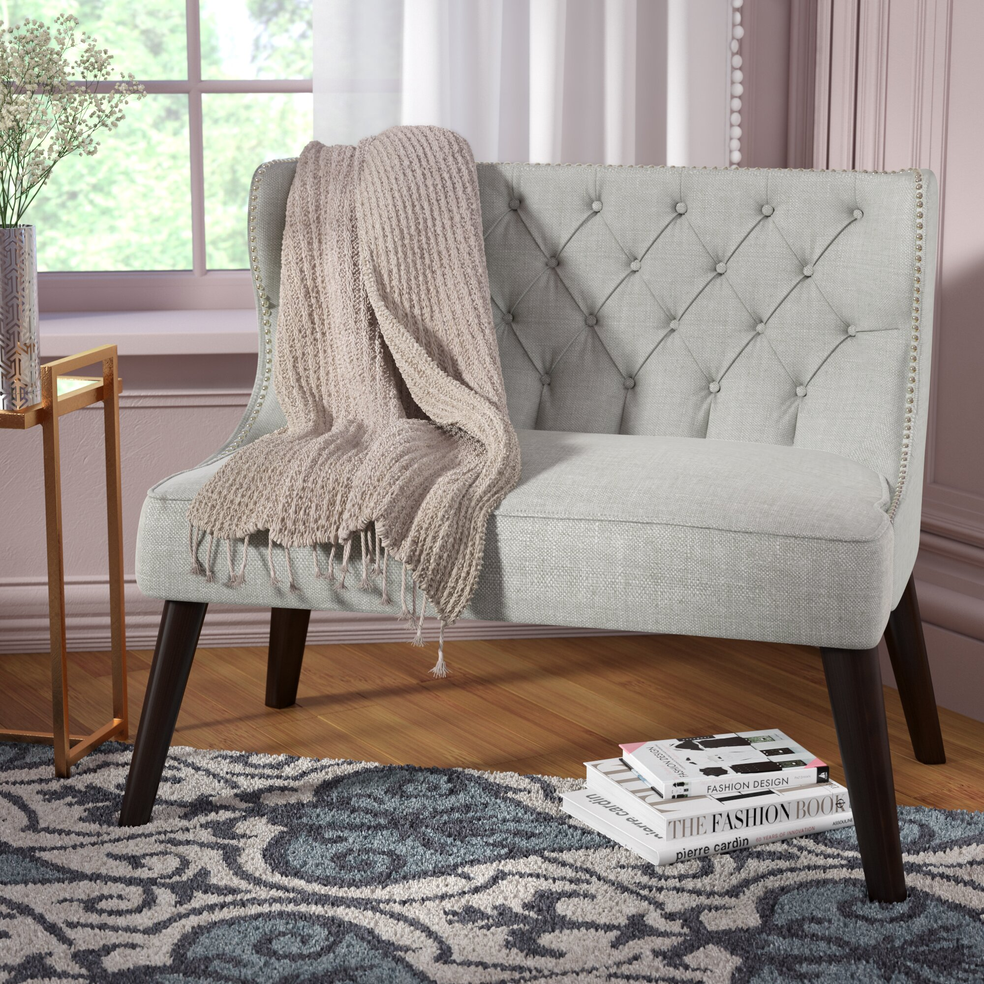 House of Hampton Doring Tufted Wing Back Settee Bedroom Bench ...