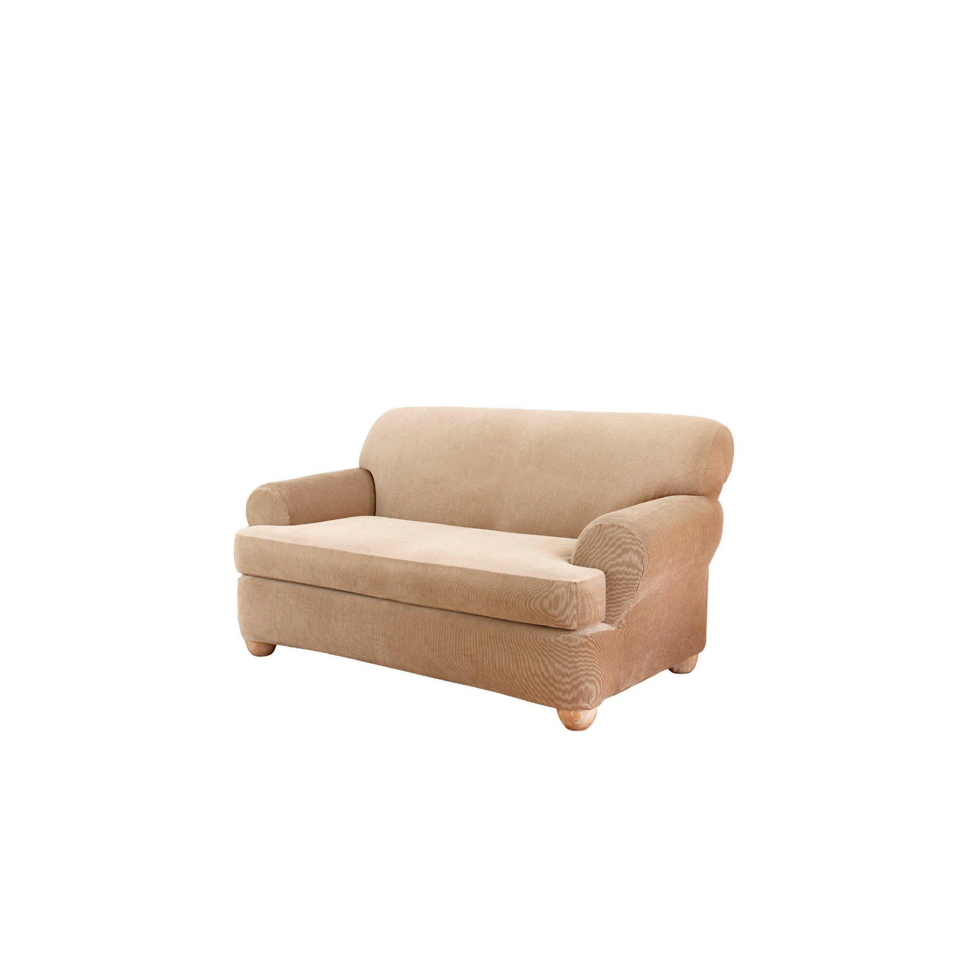 Sure Fit Stretch Stripe Loveseat T Cushion Slipcover Reviews Wayfair