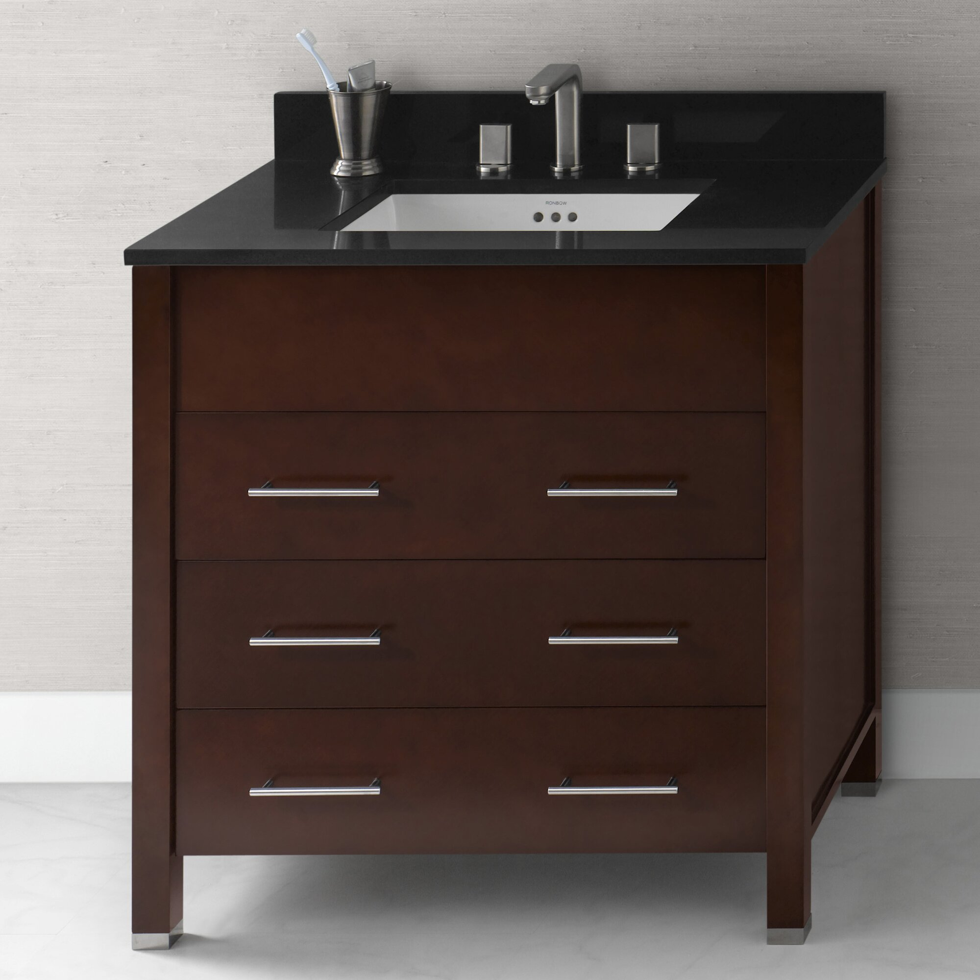 Ronbow kali 31 bathroom vanity base cabinet in dark cherry wayfair - Bathroom vanity cabinet base only ...