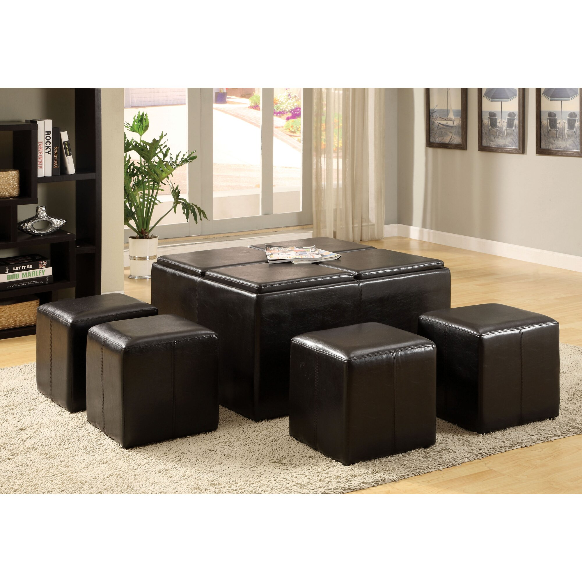 Coffee table with nesting ottomans - 5 Piece Verano Coffee Table Ottoman Set