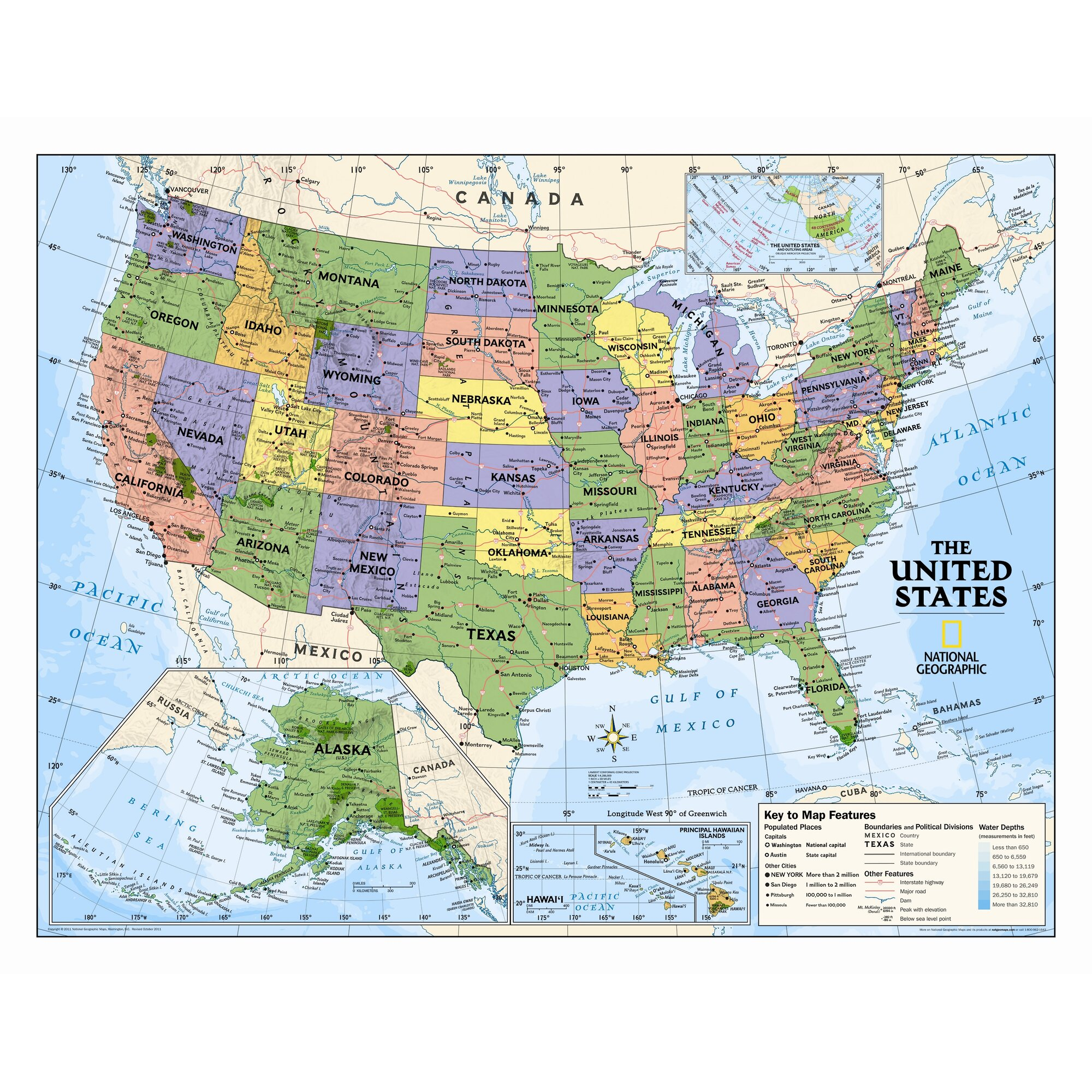 US Wall Maps Laminated US Map Posters National Geographic Store - Us national parks wall map