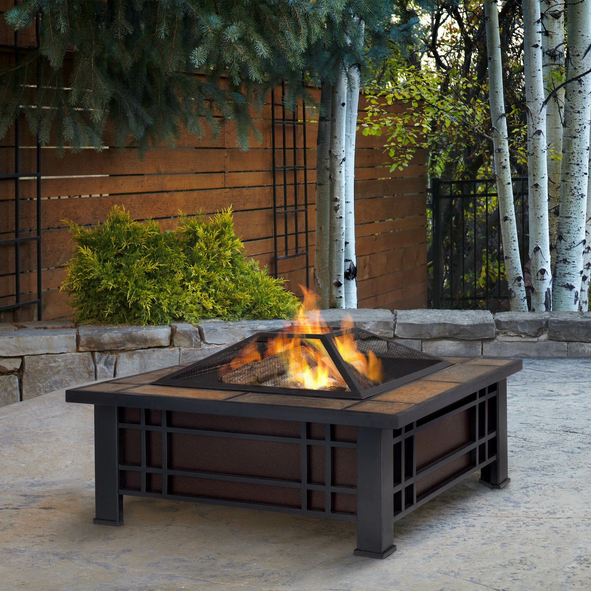 Propane fire pit on wood deck - Morrison Wood Burning Fire Pit Table