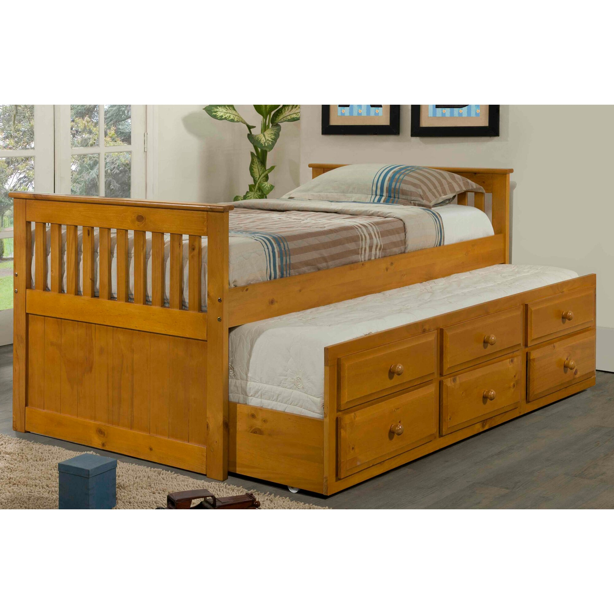 Washington twin over full bunk bed with trundle amp reviews wayfair -  Washington Twin Bunk Bed With Trundle Reviews Wayfair Captain Bed With Trundle