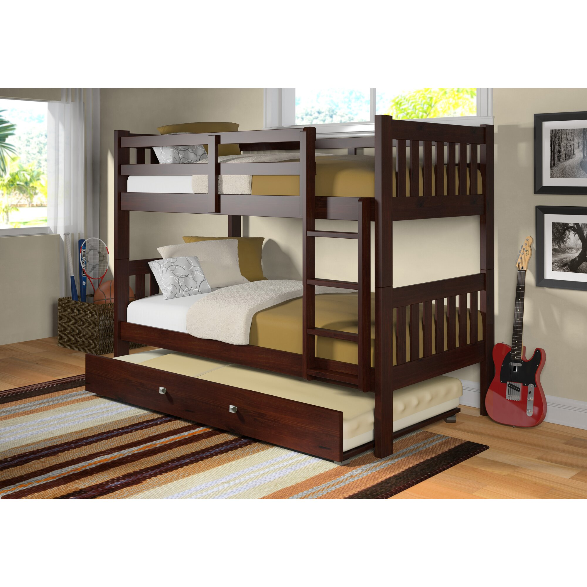 Donco Kids Washington Twin Bunk Bed With Trundle Amp Reviews
