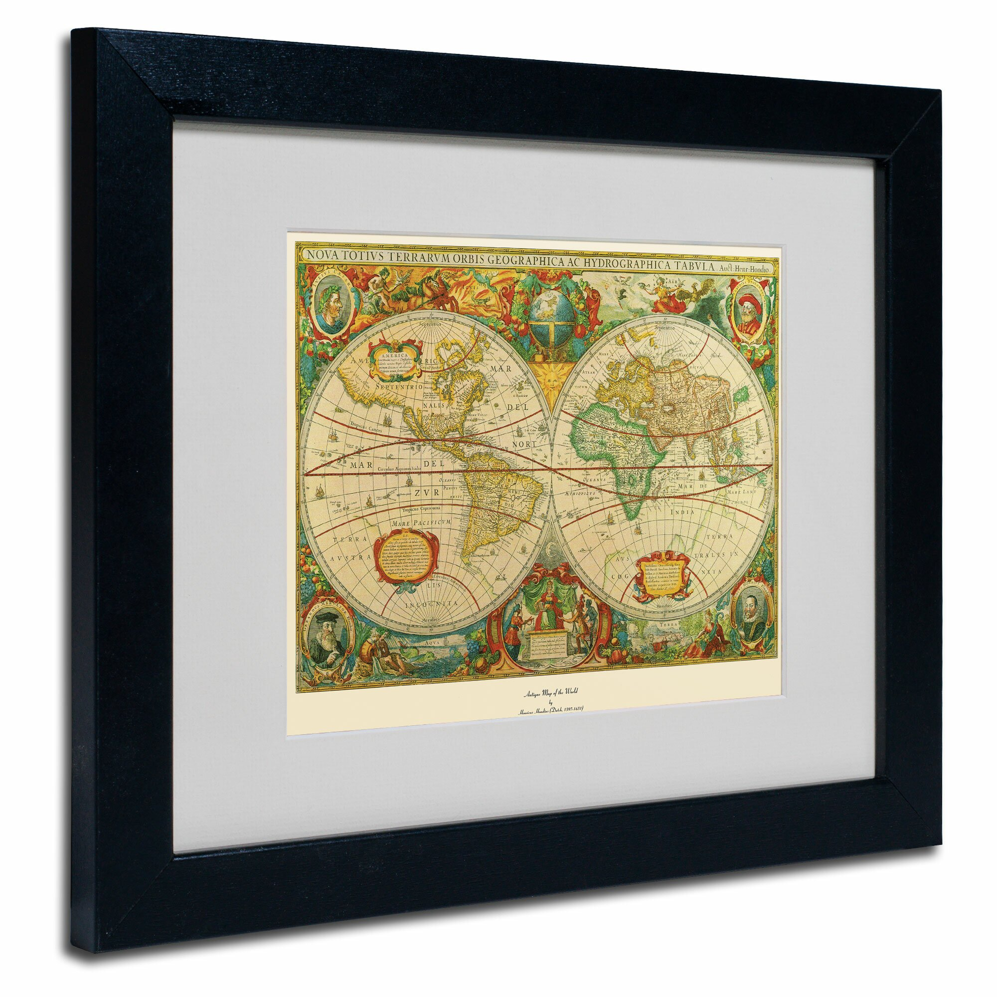 Trademark art 39old world map painting39 framed graphic art for Kitchen cabinets lowes with antique world map wall art