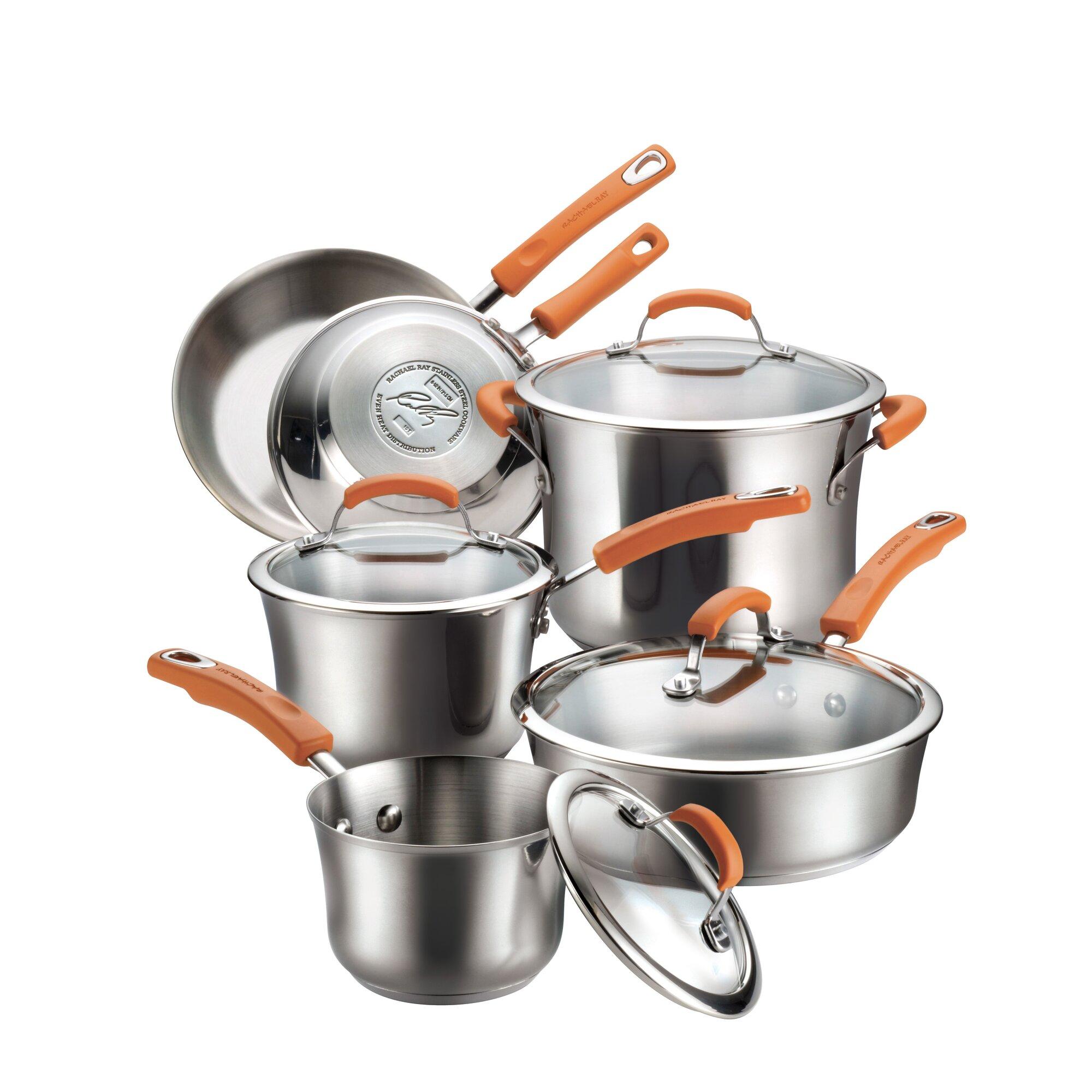 Rachael Ray 10 Piece Stainless Steel Cookware Set & Reviews | Wayfair