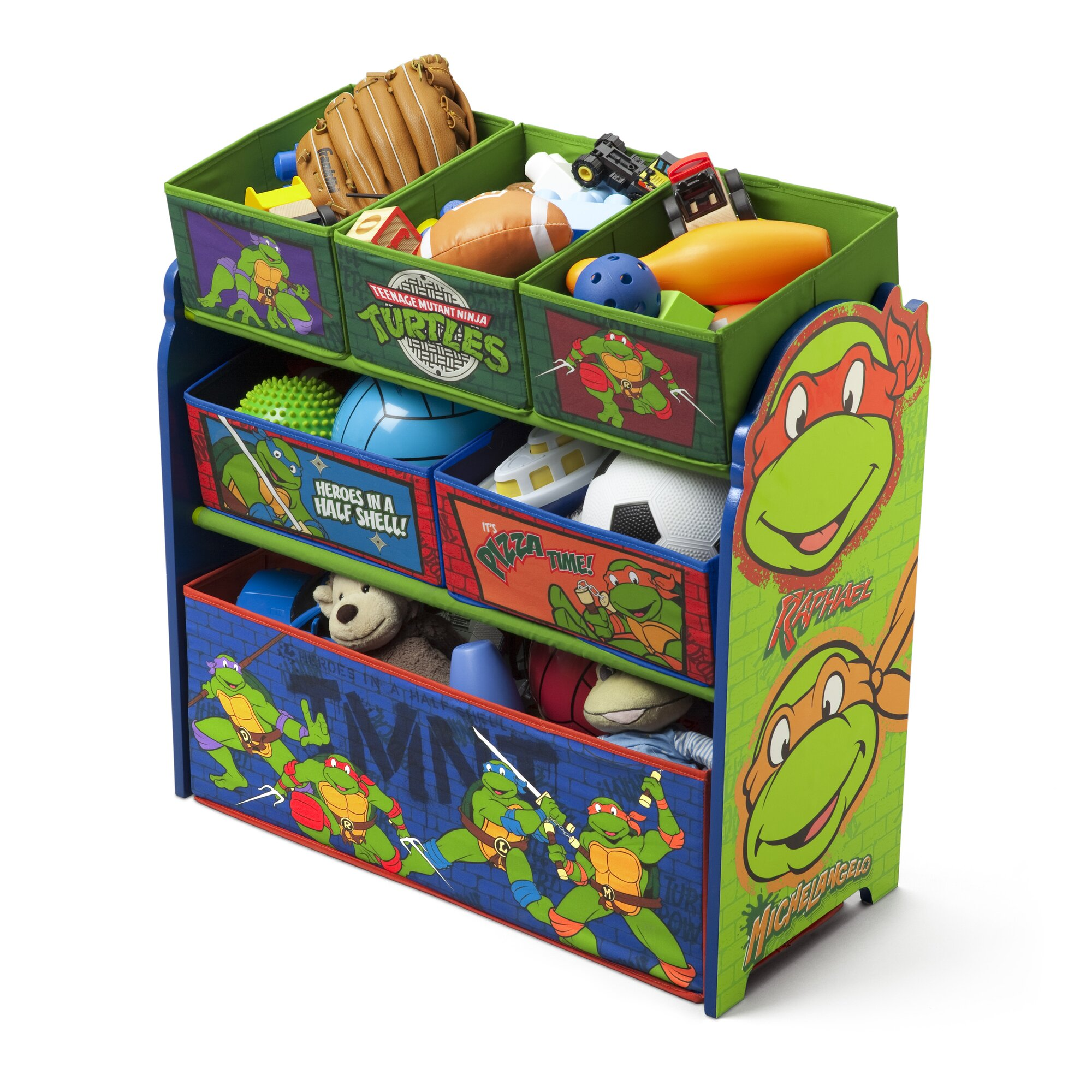 Delta children ninja turtles multi bin storage organizer for Contenitore tartarughe