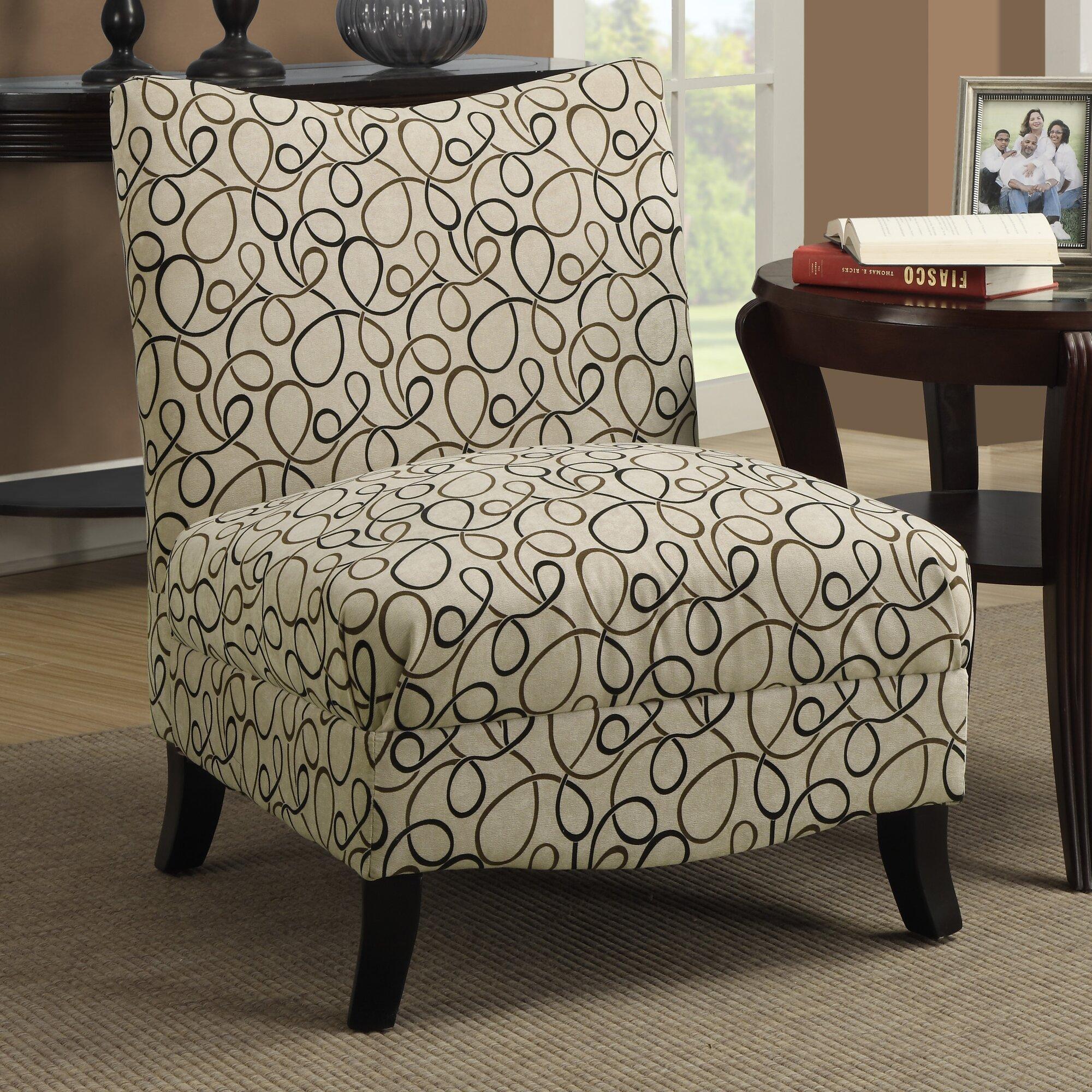 Monarch Specialties Inc Swirl Fabric Slipper Chair