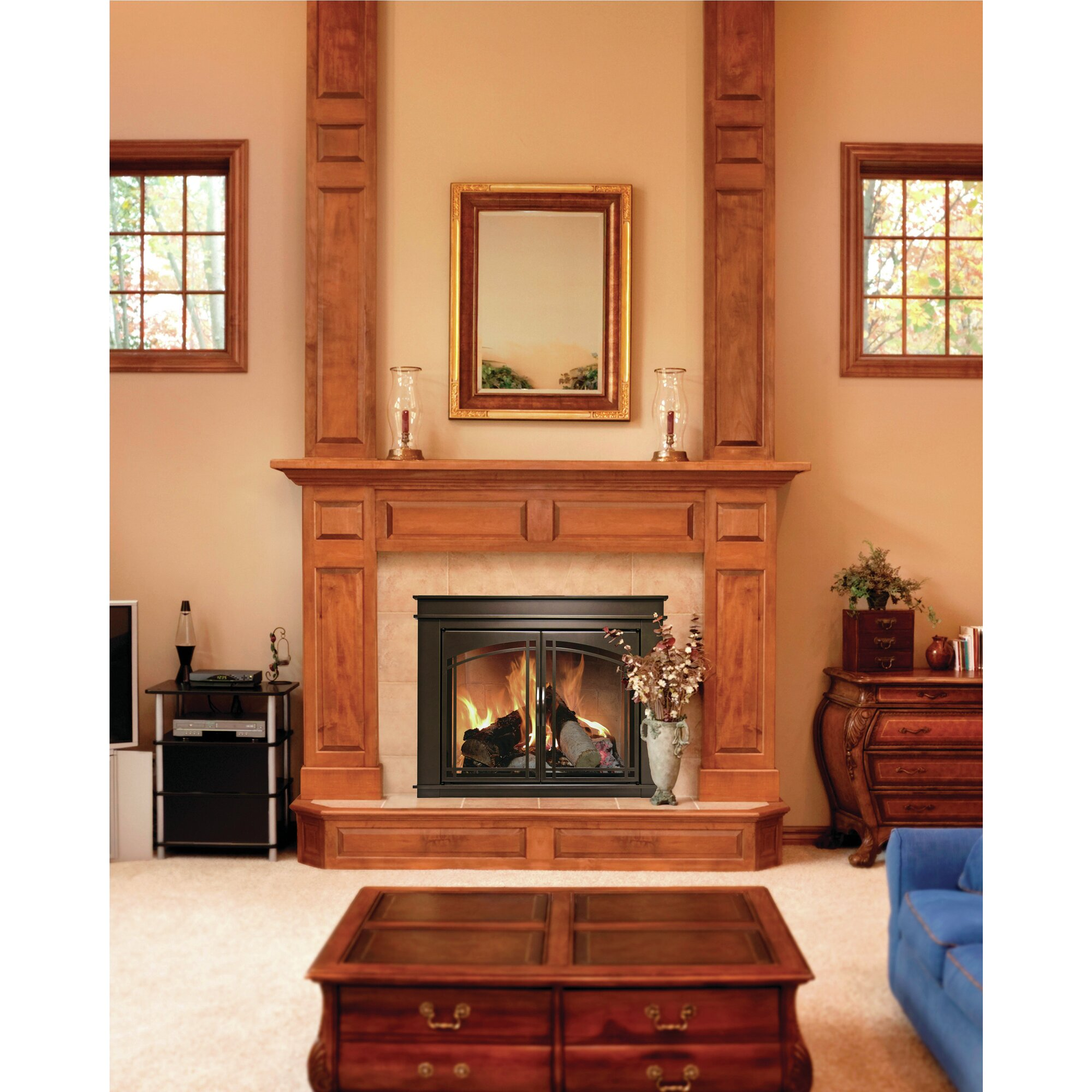 Hearth Cabinet Fireplaces: Pleasant Hearth Fenwick Cabinet Style Fireplace Screen
