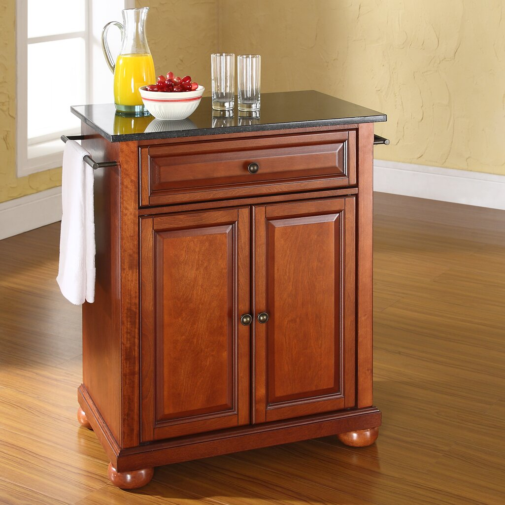 kitchen island black granite top darby home co pottstown solid black granite top portable 24741