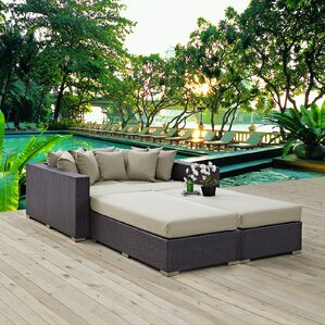 ryele 4 piece wicker patio daybed with cushions
