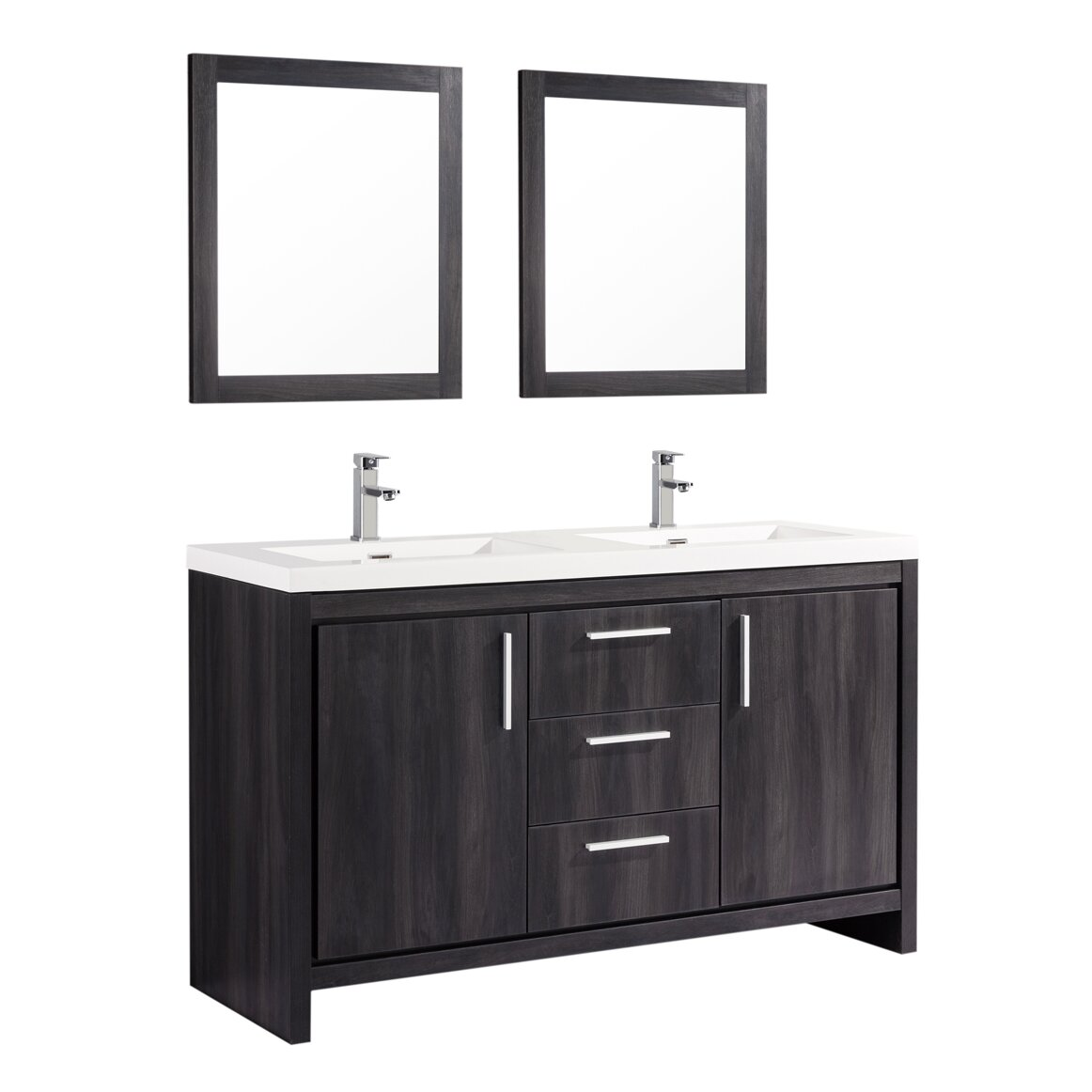 Mtdvanities Miami 59 Double Sink Modern Bathroom Vanity Set With Mirror Reviews