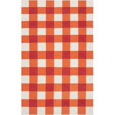 Perfect Happy Cottage Orange/White Plaid Area Rug