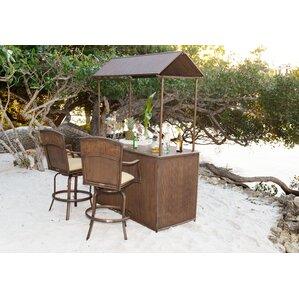 3 Piece Tiki Bar Set With Cushions
