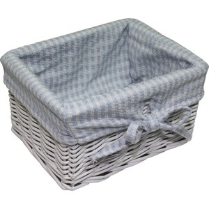 Gingham Square Willow Basket
