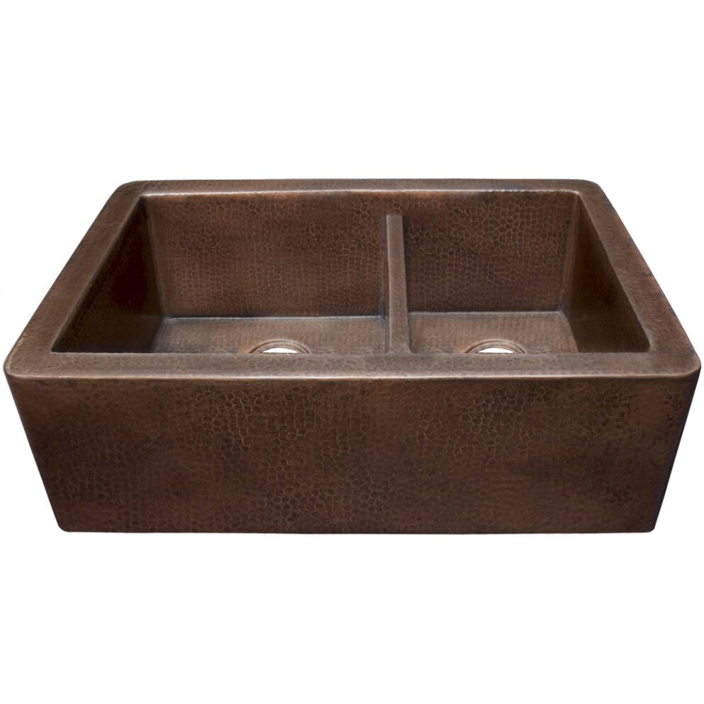 "Native Trails Farmhouse 33"" x 22"" Duet Copper Kitchen Sink & Re"