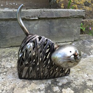 Animal Twisted Metal Cat Lying Down Statue