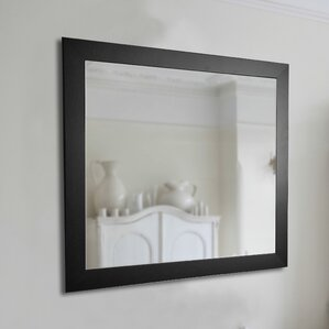 american made black satin wide wall mirror