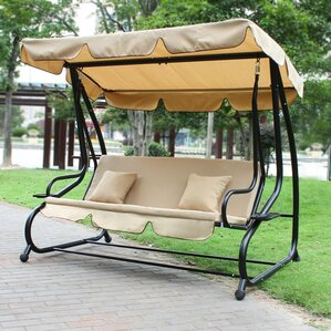 Canopy Awning Outdoor Bench Porch Swing With Stand