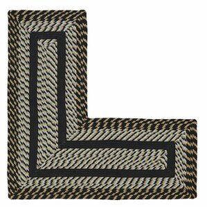 Charming Newport L Shaped Black Area Rug