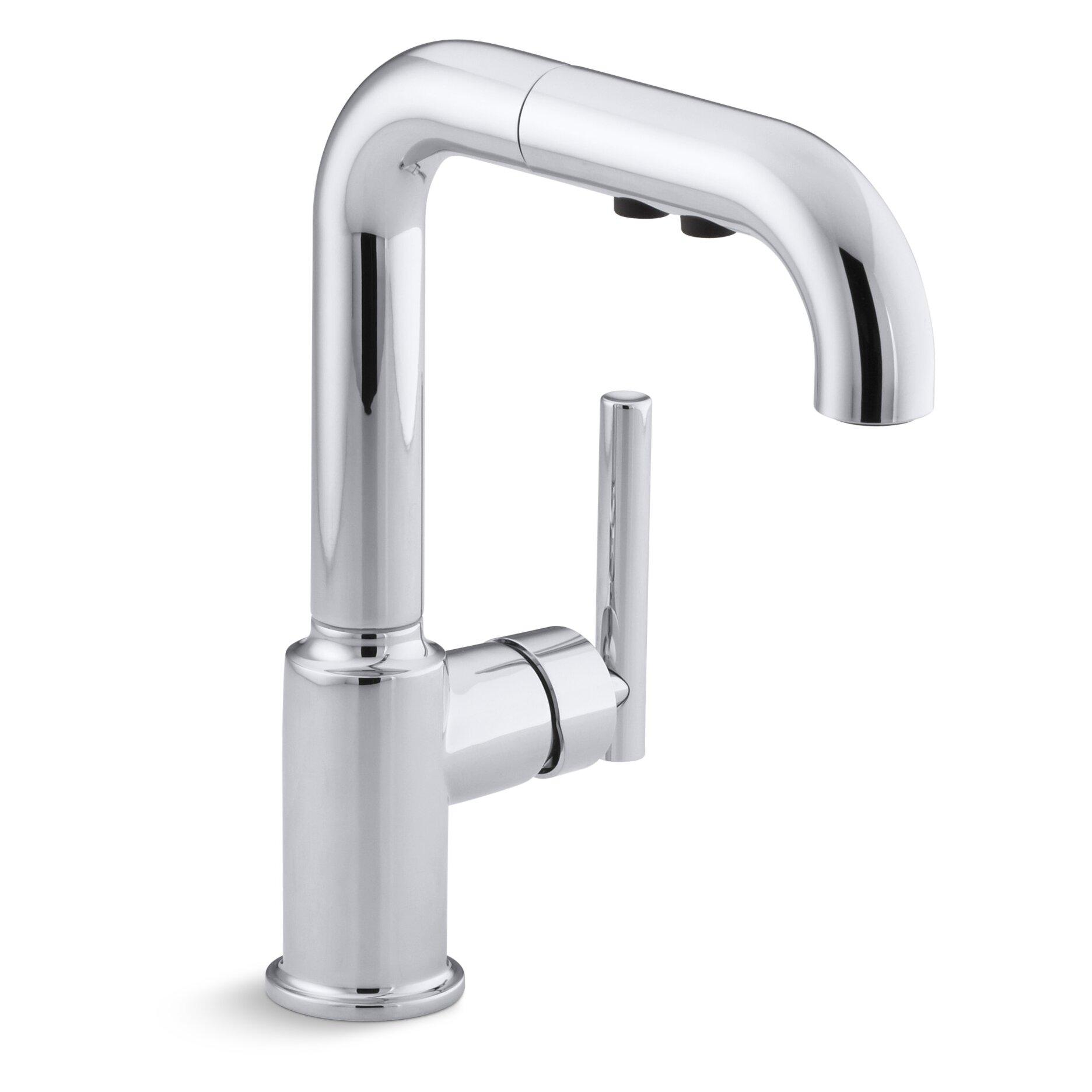 Purist Single Hole Kitchen Sink Faucet With  Pullout Spout