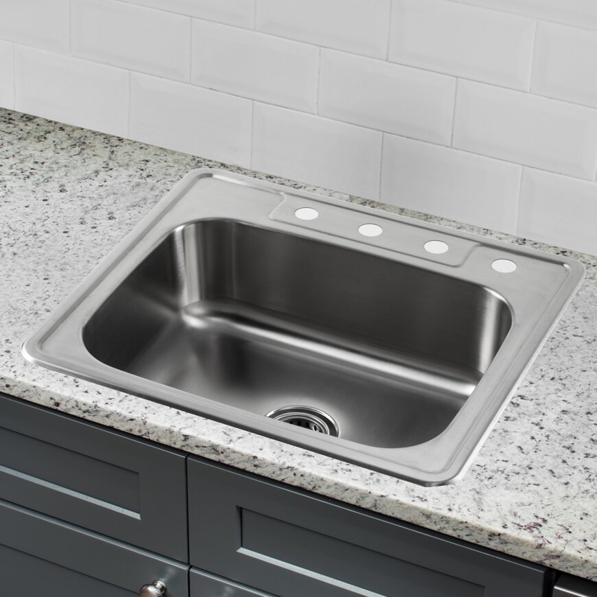 25 x 22 stainless steel drop in single bowl kitchen sink - Kitchen Sink Drop In