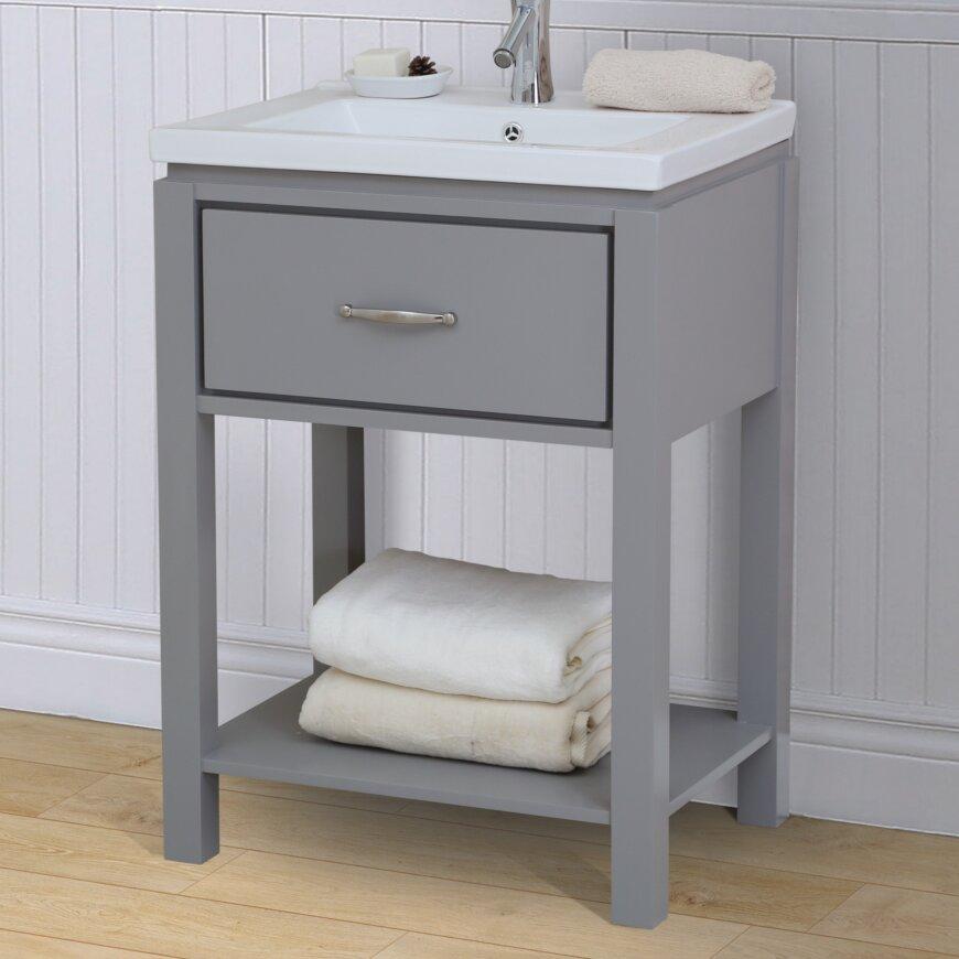 """InFurniture 24"""" Single Bathroom Vanity Set with Open Shelf"""