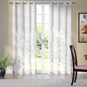 Delightful Stanton Nature/Floral Sheer Grommet Curtain Panels (Set Of 2)