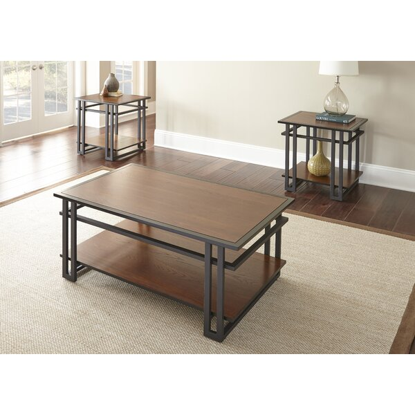 world menagerie amskroud 3 piece coffee table set & reviews   wayfair