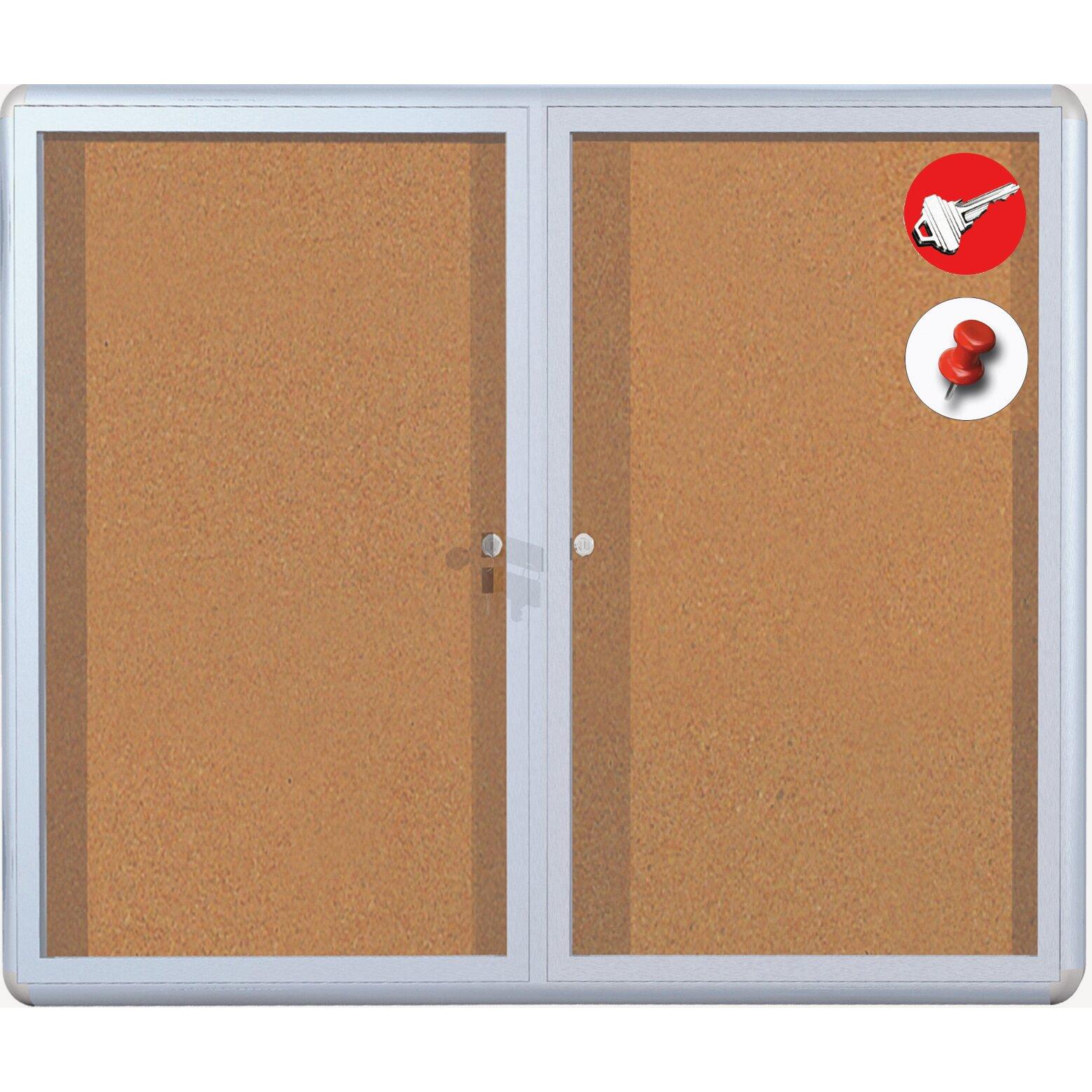mastervision cork display case wall mounted bulletin board wayfair. Black Bedroom Furniture Sets. Home Design Ideas