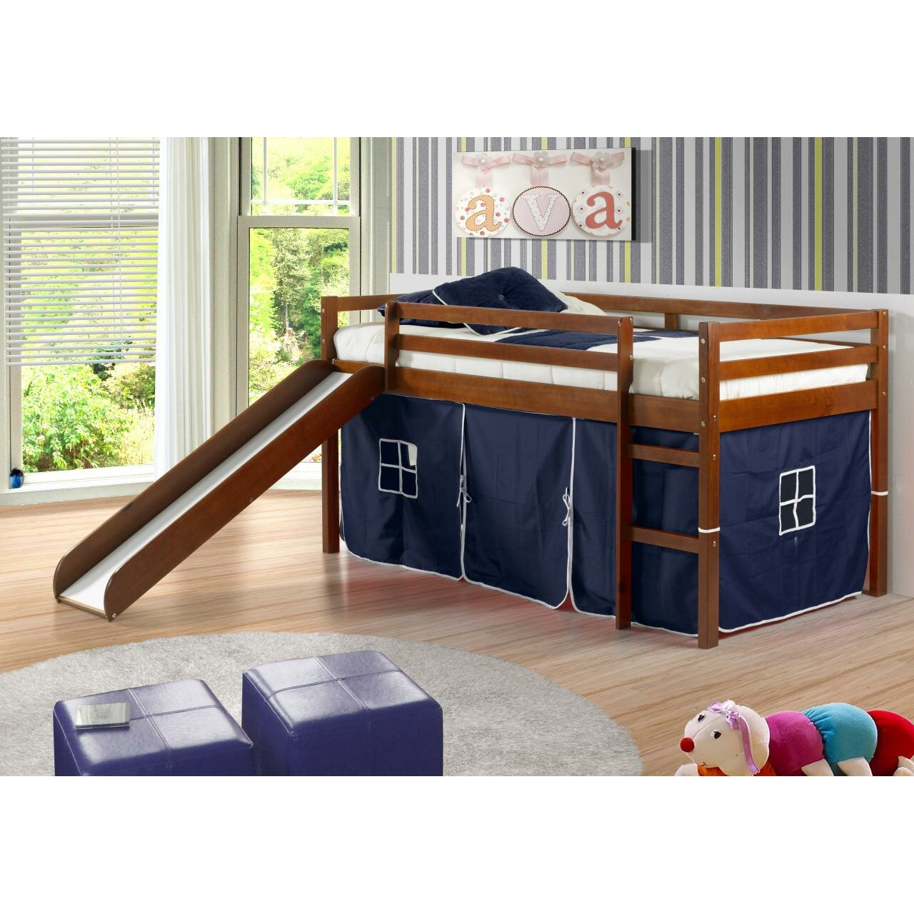 Kids loft beds with slide - Tent Twin Low Loft Bed With Slide