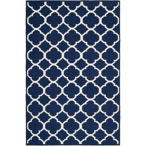 dhurries blueivory area rug