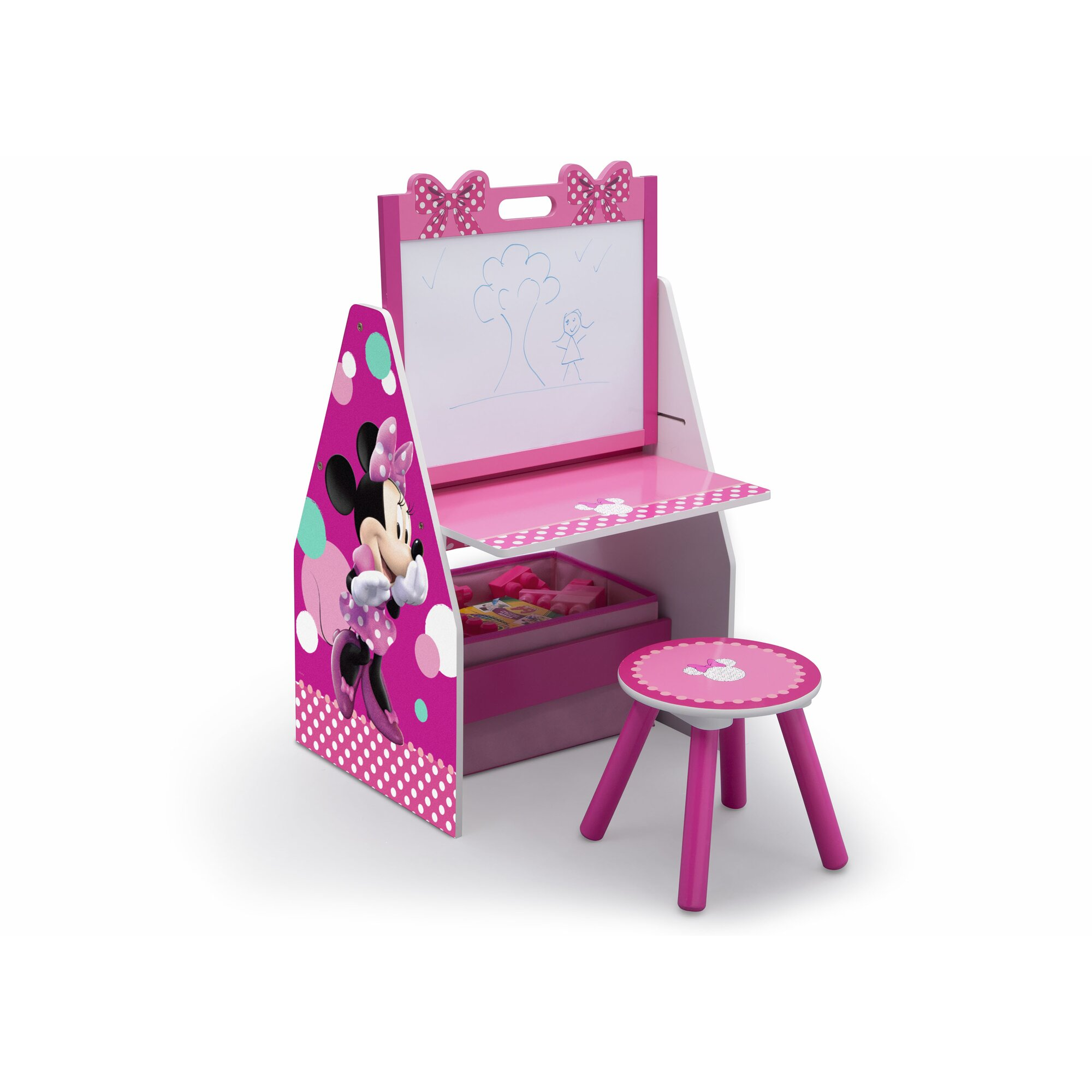 Delta Children Disney Minnie Mouse 20 Art Desk With Stool