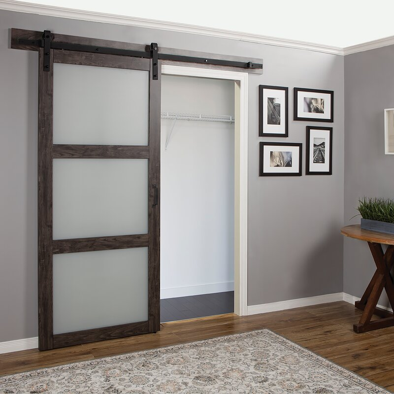 Superior Continental Frosted Glass 1 Panel Ironage Laminate Interior Barn Door Design Ideas