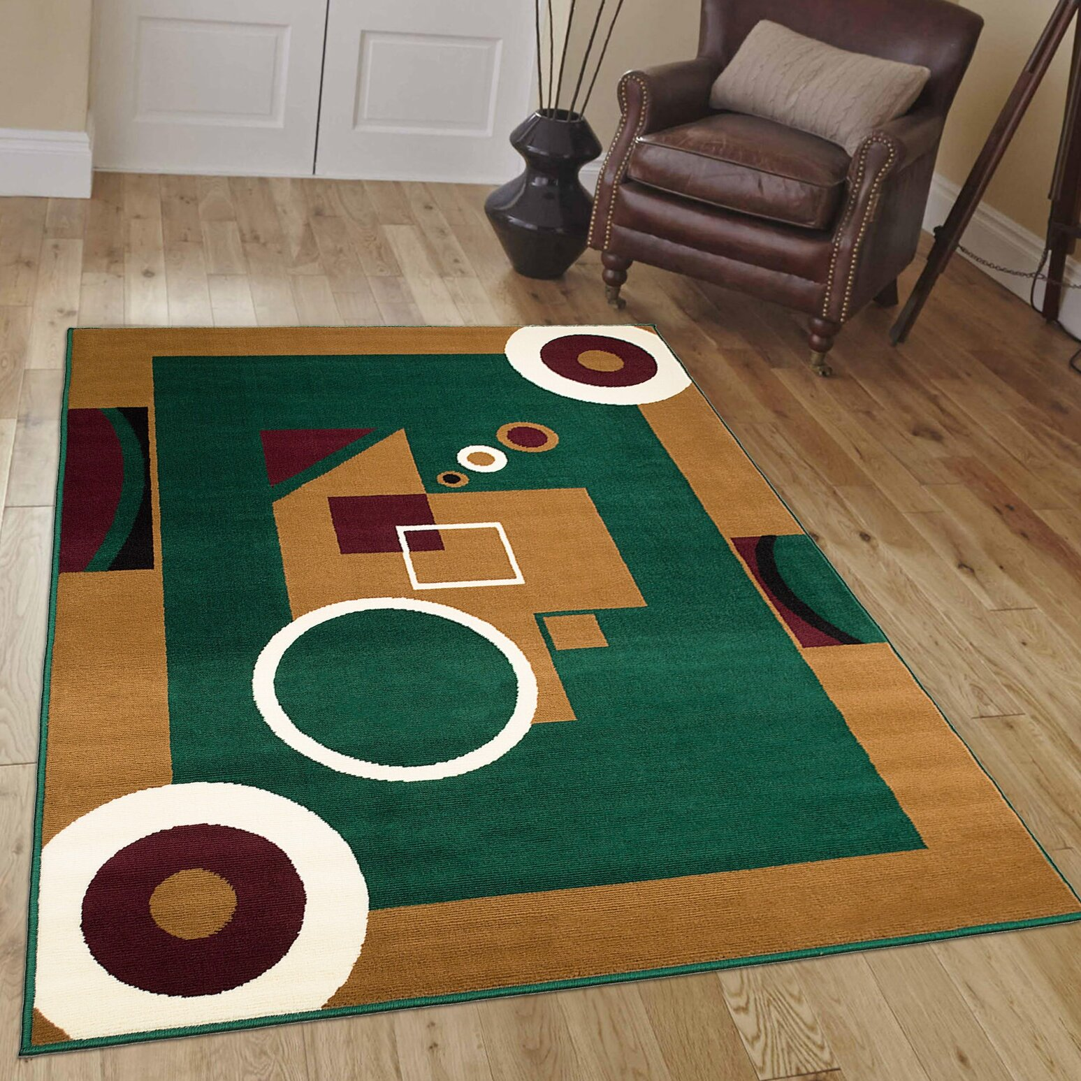 AllStar Rugs Hand-Woven Green/Brown Area Rug & Reviews