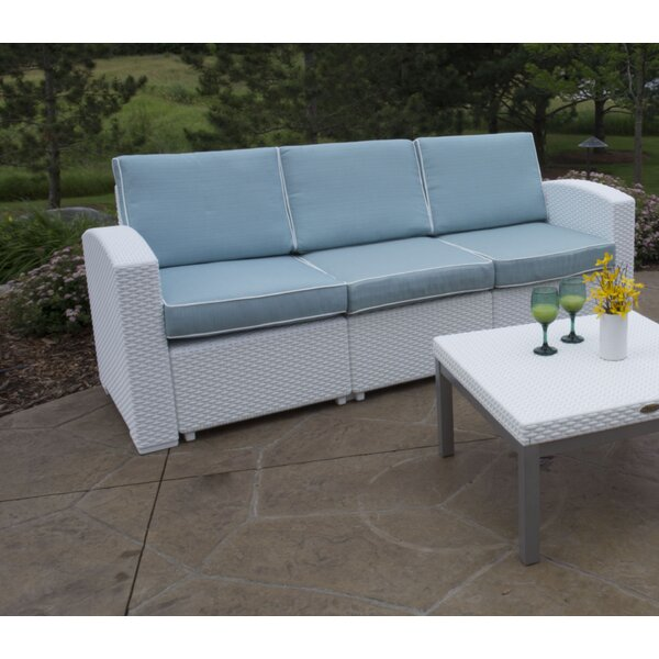 Strata Furniture Cielo Patio Sofa With Cushions U0026 Reviews | Wayfair