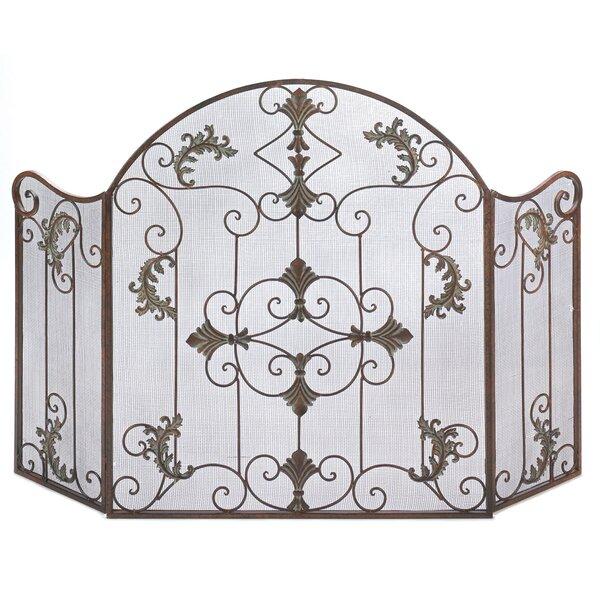 Iron Fireplace Screens zingz & thingz embellished wrought iron fireplace screen & reviews