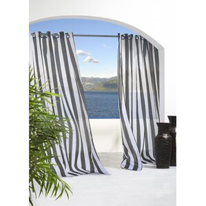 Odessa Striped Sheer Outdoor Grommet Single Curtain Panel
