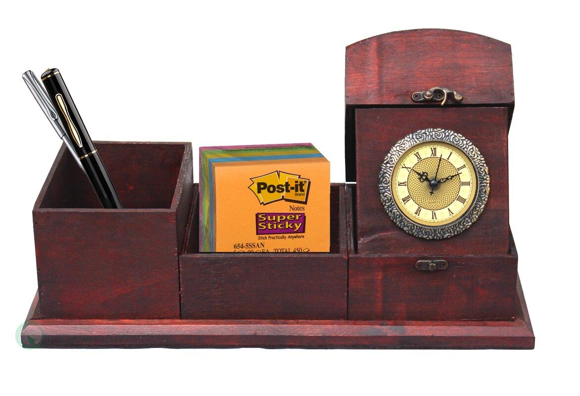Desk Organizer Quickway Imports Antique Wood Desk Organizer Wayfair
