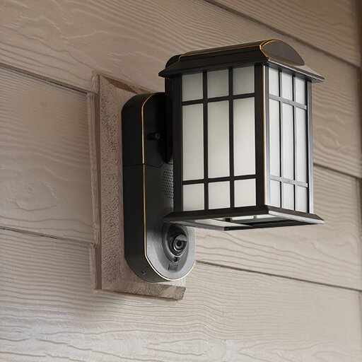 Porch Light With Camera: Maximus Smart Security With Camera 1-Light Outdoor Wall